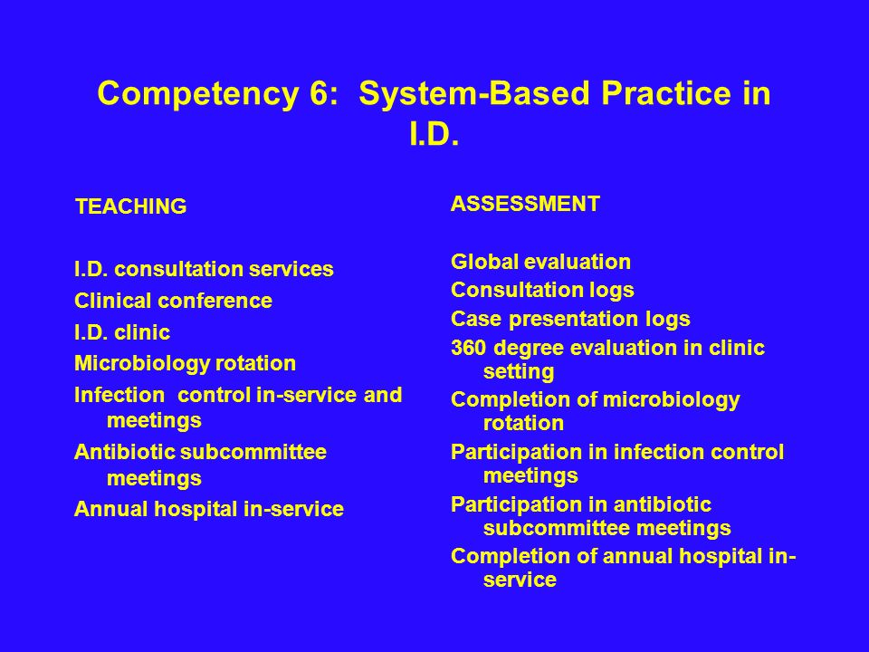 Competency 6: System-Based Practice in I.D. TEACHING I.D.