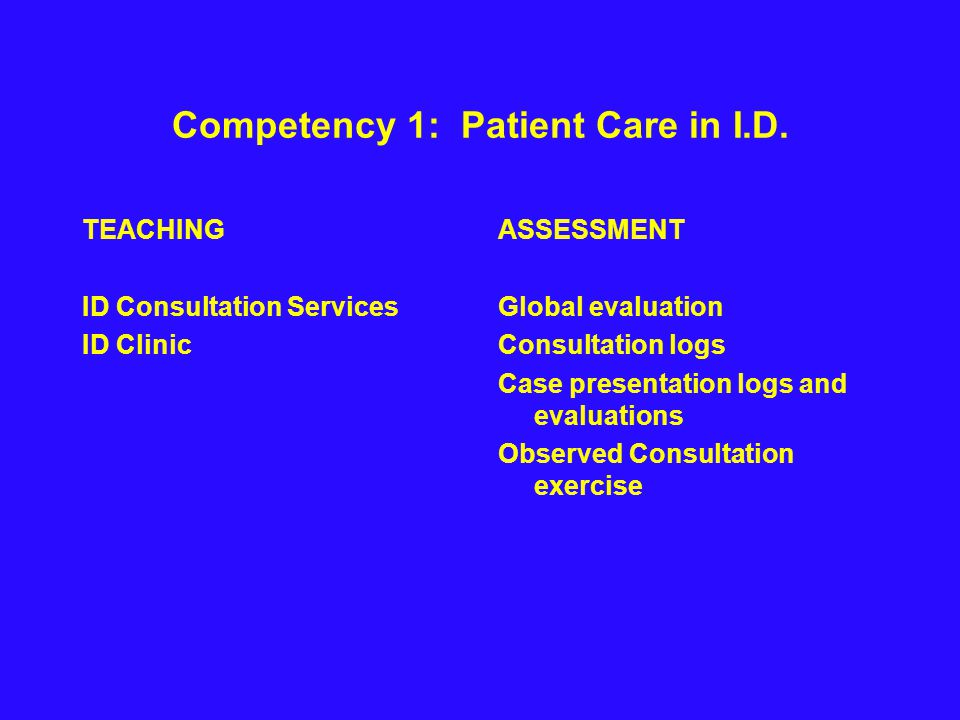 Competency 1: Patient Care in I.D.