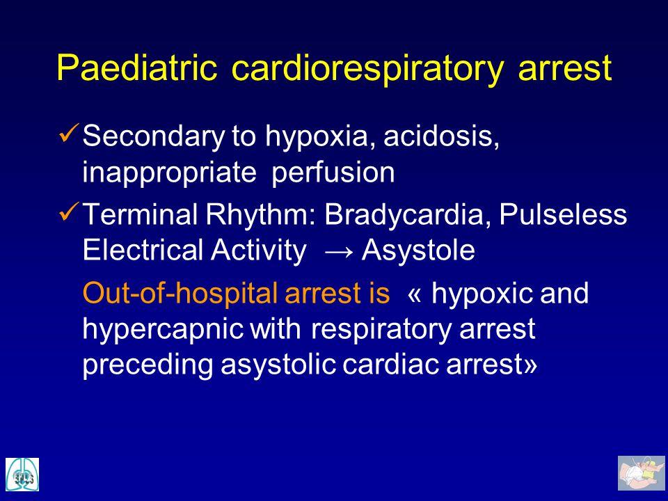 Paediatric cardiorespiratory arrest Secondary to hypoxia, acidosis, inappropriate perfusion Terminal Rhythm: Bradycardia, Pulseless Electrical Activit