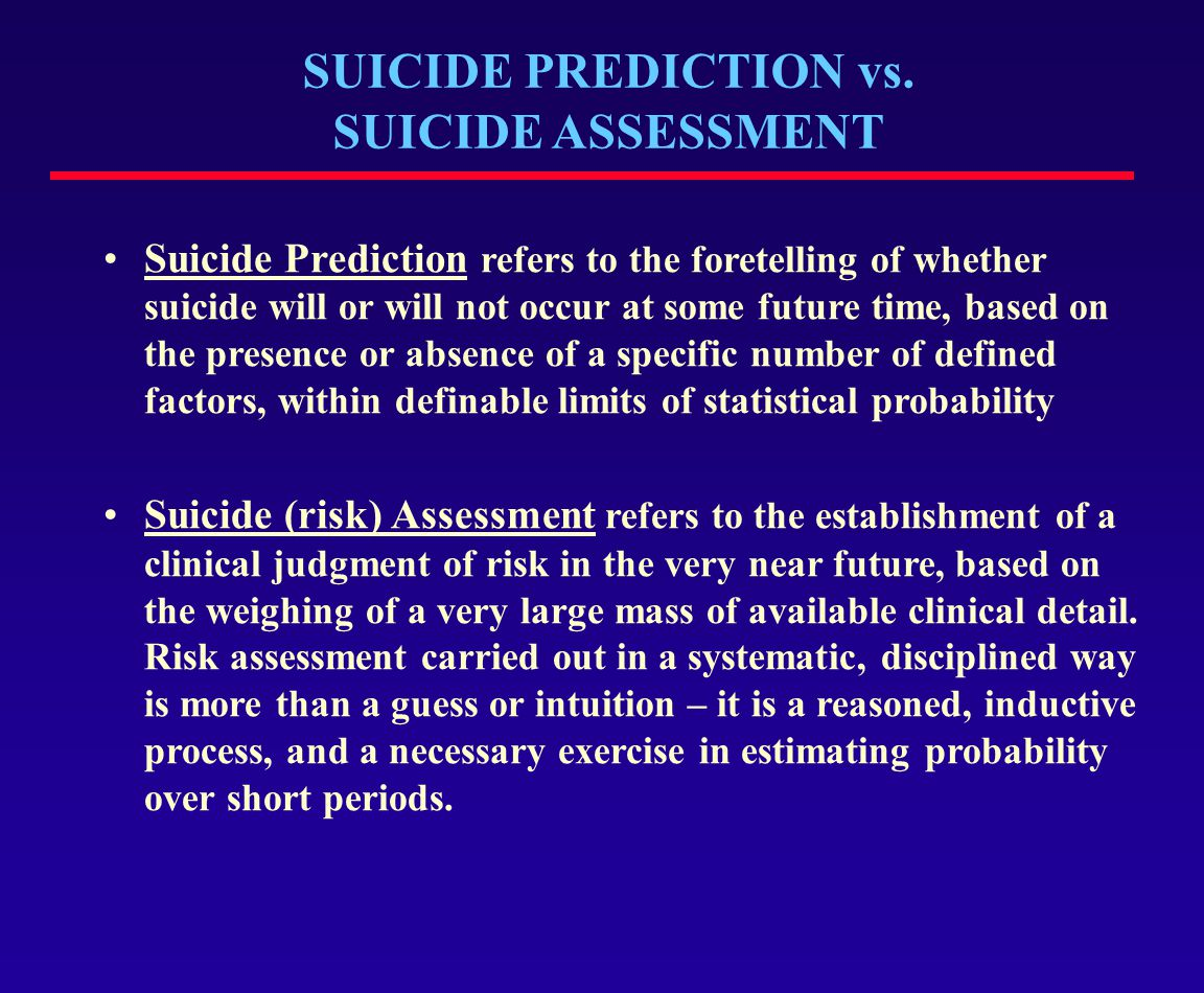 CHARACTERISTICS OF A SUICIDE PLAN Risk / Rescue Issues:  Method  Time  Place  Available means  Arranging sequence of events Jacobs (1998)