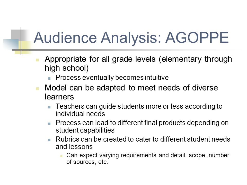 Audience Analysis: AGOPPE Appropriate for all grade levels (elementary through high school) Process eventually becomes intuitive Model can be adapted