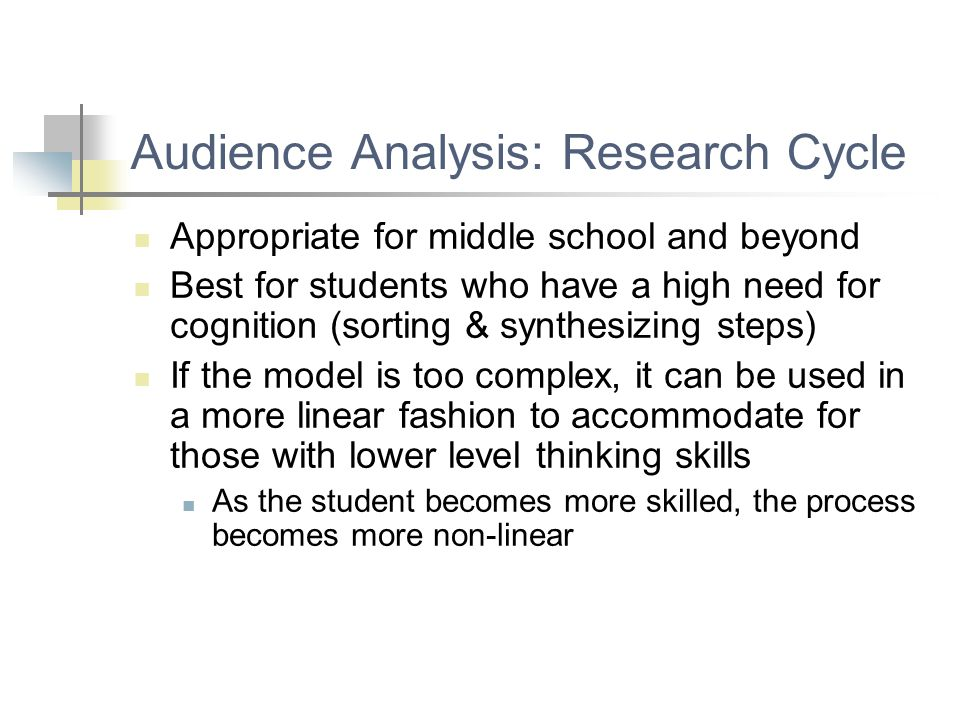 Audience Analysis: Research Cycle Appropriate for middle school and beyond Best for students who have a high need for cognition (sorting & synthesizin