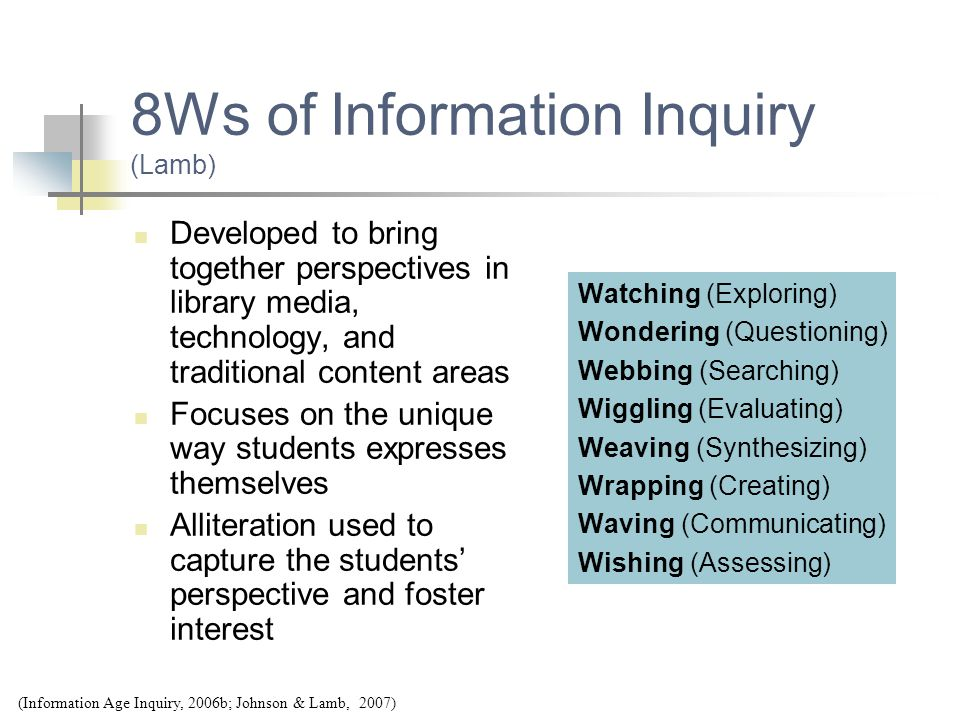 8Ws of Information Inquiry (Lamb) Developed to bring together perspectives in library media, technology, and traditional content areas Focuses on the