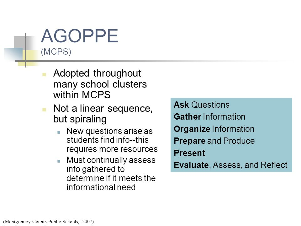 AGOPPE (MCPS) Adopted throughout many school clusters within MCPS Not a linear sequence, but spiraling New questions arise as students find info--this