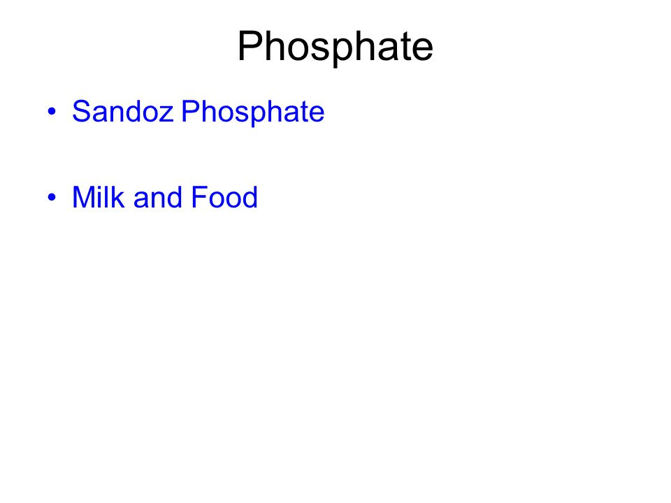 Phosphate Sandoz Phosphate Milk and Food