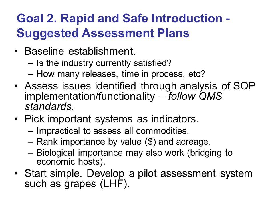 Goal 2.Rapid and Safe Introduction - Suggested Assessment Plans Baseline establishment.