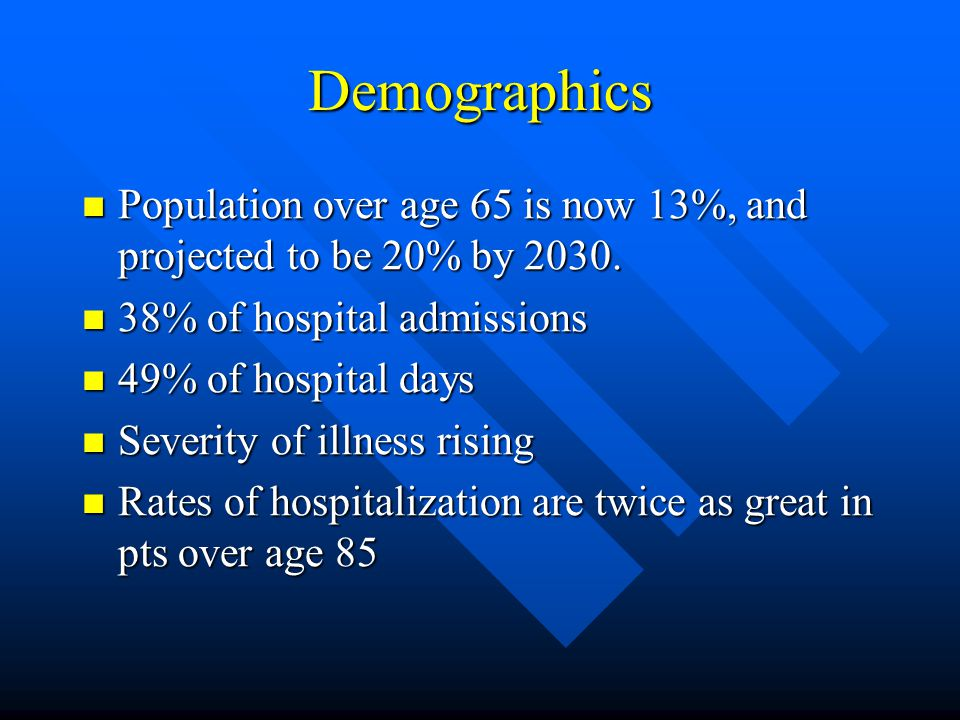 Demographics Population over age 65 is now 13%, and projected to be 20% by 2030.