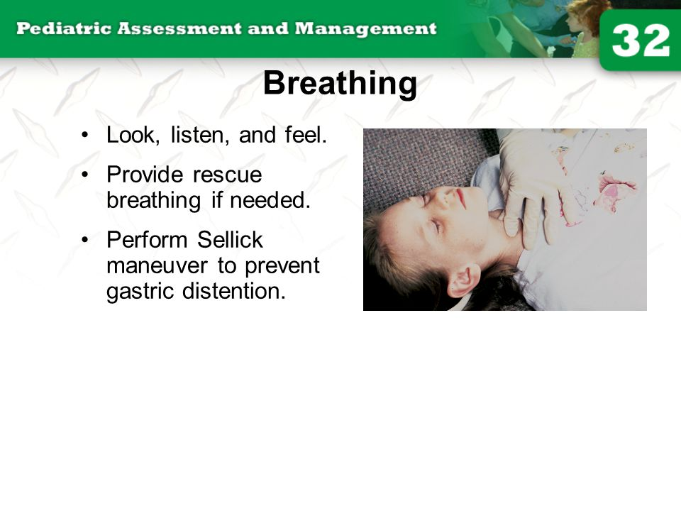 Breathing Look, listen, and feel. Provide rescue breathing if needed. Perform Sellick maneuver to prevent gastric distention.