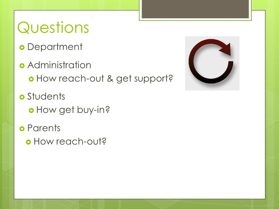 Questions  Department  Administration  How reach-out & get support.