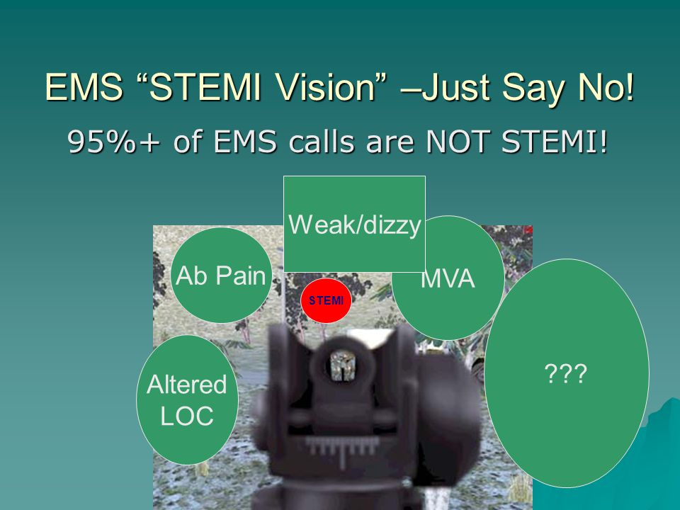 EMS STEMI Vision –Just Say No. 95%+ of EMS calls are NOT STEMI.