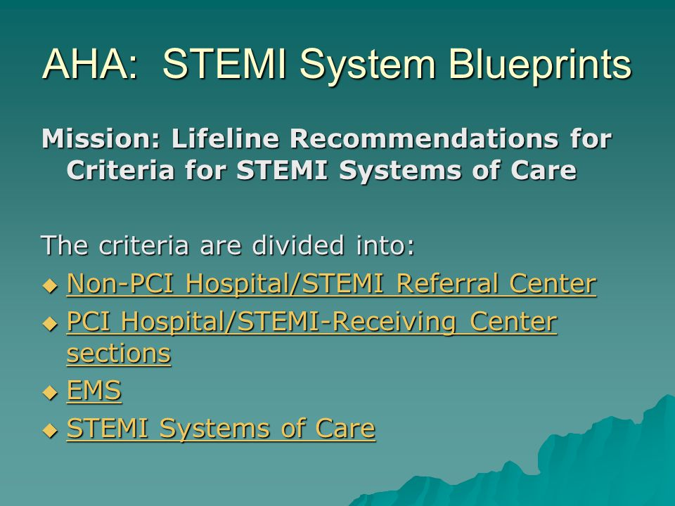 A STEMI ALERT Packet Includes 3 Checklists:  Physician Checklist  Nurse Checklist  STEMI Scribe Checklist