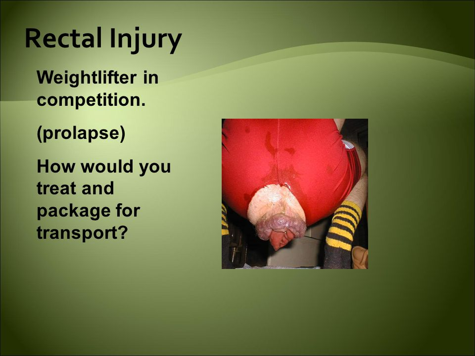Rectal Injury Weightlifter in competition.