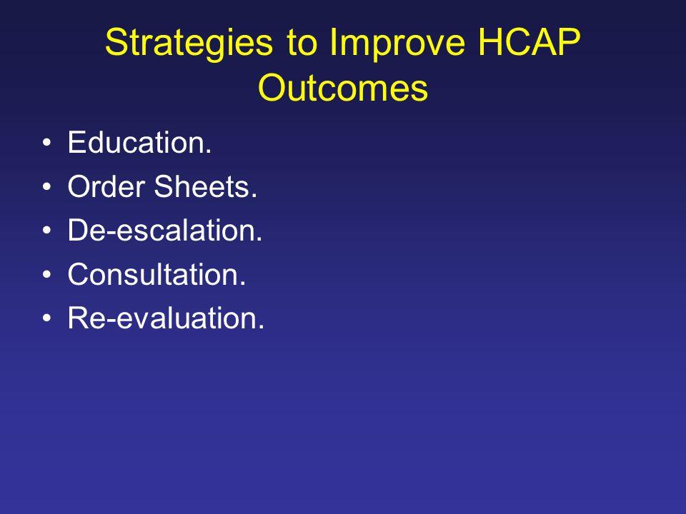 Strategies to Improve HCAP Outcomes Education. Order Sheets. De-escalation. Consultation. Re-evaluation.