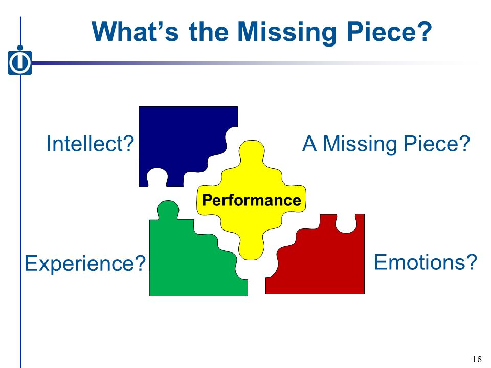 What's the Missing Piece? 18 Performance A Missing Piece? Intellect? Emotions? Experience?