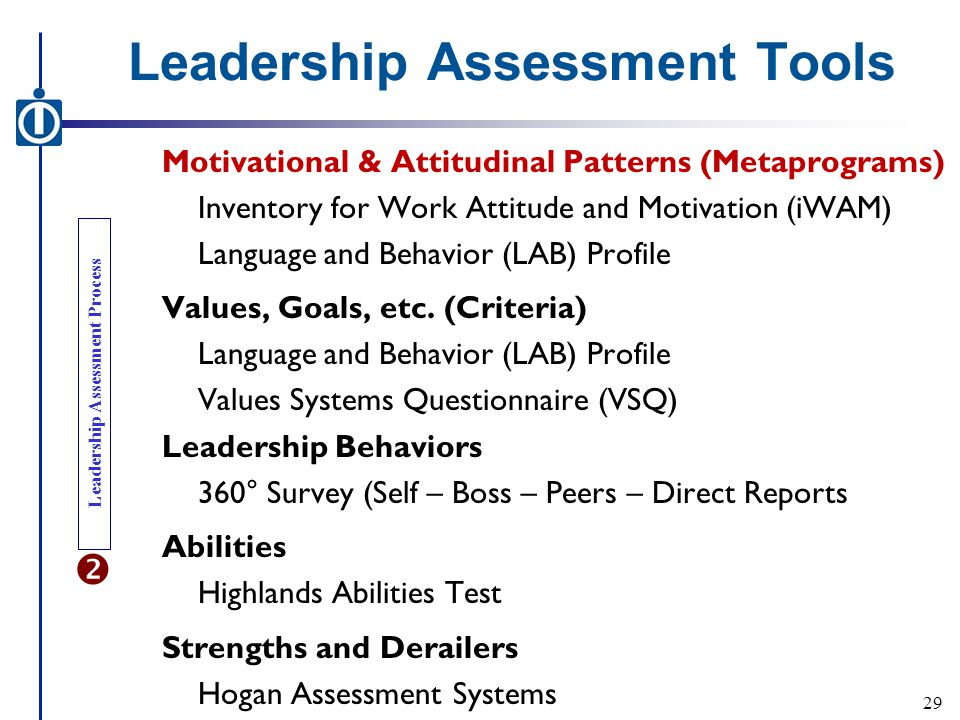 Leadership Assessment Tools Motivational & Attitudinal Patterns (Metaprograms) Inventory for Work Attitude and Motivation (iWAM) Language and Behavior (LAB) Profile Values, Goals, etc.