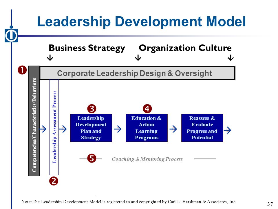 Leadership Development Model - Business StrategyOrganization Culture  Competencies/Characteristics/Behaviors Corporate Leadership Design & Oversight Leadership Assessment Process Leadership Development Plan and Strategy Education & Action Learning Programs Reassess & Evaluate Progress and Potential     Coaching & Mentoring Process  37 Note: The Leadership Development Model is registered to and copyrighted by Carl L.