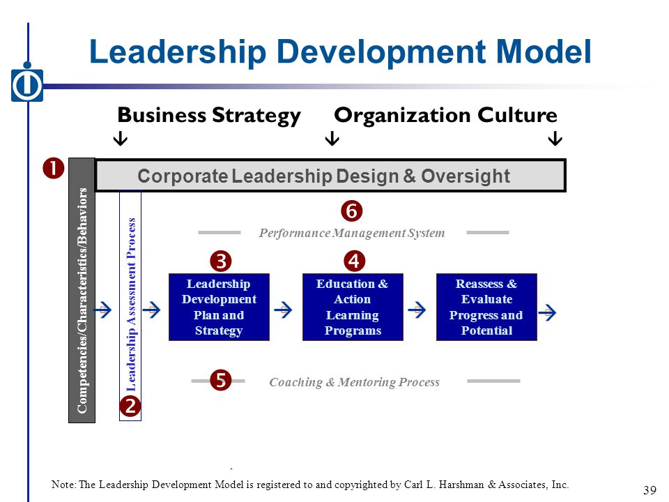 Leadership Development Model - Business StrategyOrganization Culture  Competencies/Characteristics/Behaviors Corporate Leadership Design & Oversight Leadership Assessment Process Leadership Development Plan and Strategy Coaching & Mentoring Process Education & Action Learning Programs Reassess & Evaluate Progress and Potential      Performance Management System  39 Note: The Leadership Development Model is registered to and copyrighted by Carl L.
