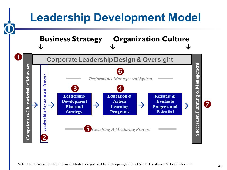 Leadership Development Model - Business StrategyOrganization Culture  Competencies/Characteristics/Behaviors Corporate Leadership Design & Oversight Leadership Assessment Process Leadership Development Plan and Strategy Coaching & Mentoring Process Education & Action Learning Programs Reassess & Evaluate Progress and Potential      Performance Management System  Succession Planning & Management  41 Note: The Leadership Development Model is registered to and copyrighted by Carl L.