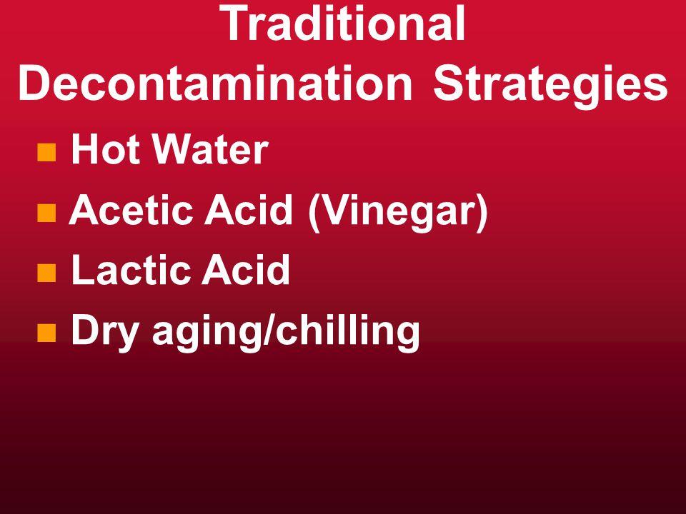 Traditional Decontamination Strategies n n Hot Water n n Acetic Acid (Vinegar) n n Lactic Acid n n Dry aging/chilling