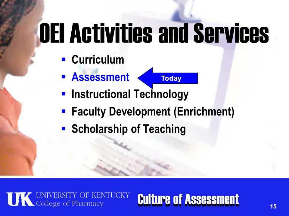Culture of Assessment 15 OEI Activities and Services  Curriculum  Assessment  Instructional Technology  Faculty Development (Enrichment)  Scholar