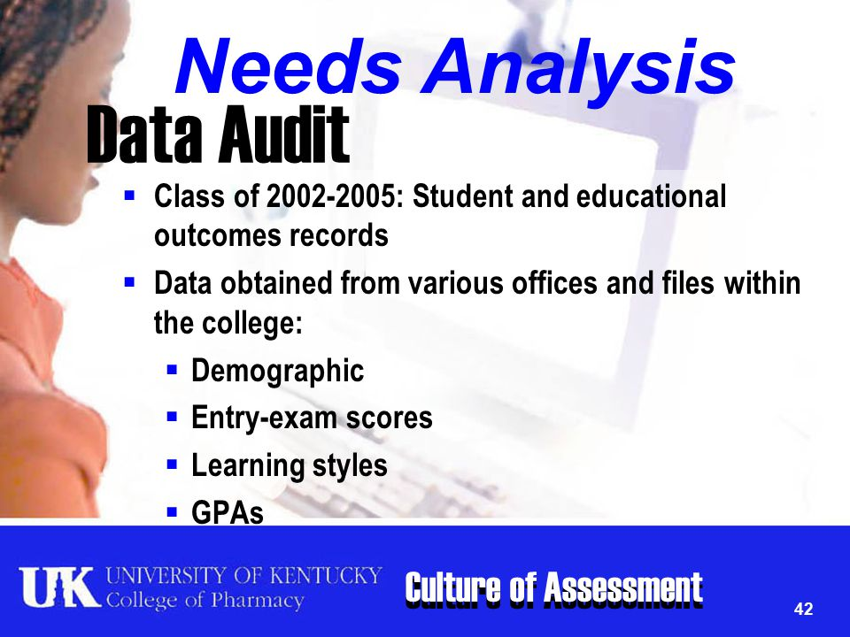 Culture of Assessment 42 Data Audit  Class of 2002-2005: Student and educational outcomes records  Data obtained from various offices and files with