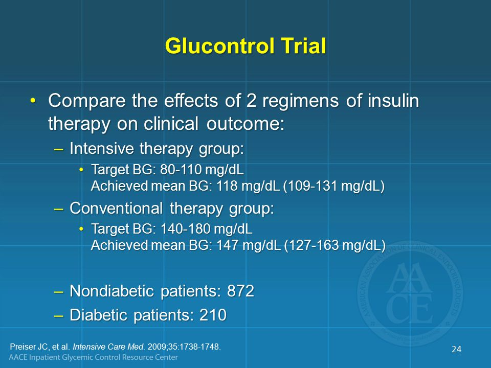 Glucontrol Trial Compare the effects of 2 regimens of insulin therapy on clinical outcome:Compare the effects of 2 regimens of insulin therapy on clinical outcome: –Intensive therapy group: Target BG: 80-110 mg/dL Achieved mean BG: 118 mg/dL (109-131 mg/dL)Target BG: 80-110 mg/dL Achieved mean BG: 118 mg/dL (109-131 mg/dL) –Conventional therapy group: Target BG: 140-180 mg/dL Achieved mean BG: 147 mg/dL (127-163 mg/dL)Target BG: 140-180 mg/dL Achieved mean BG: 147 mg/dL (127-163 mg/dL) –Nondiabetic patients: 872 –Diabetic patients: 210 Preiser JC, et al.