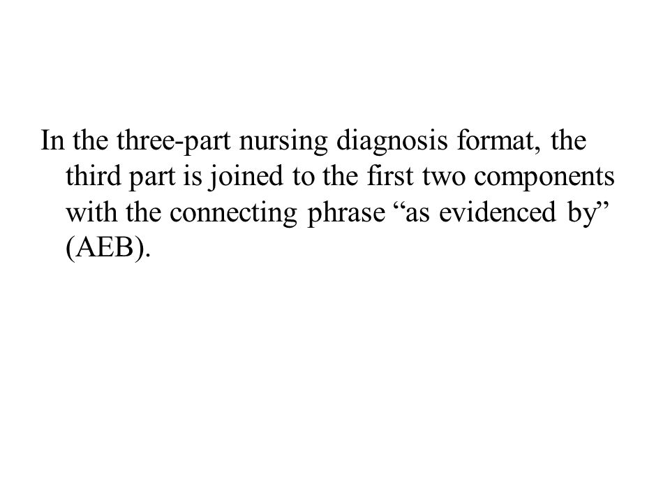"In the three-part nursing diagnosis format, the third part is joined to the first two components with the connecting phrase ""as evidenced by"" (AEB)."