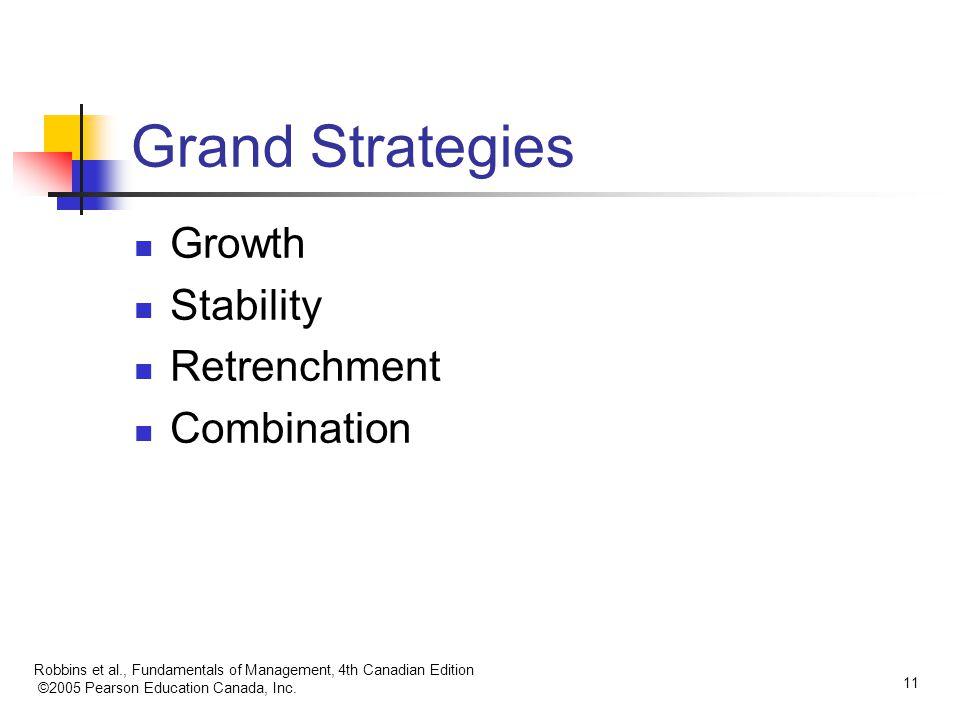 Robbins et al., Fundamentals of Management, 4th Canadian Edition ©2005 Pearson Education Canada, Inc. 11 Grand Strategies Growth Stability Retrenchmen