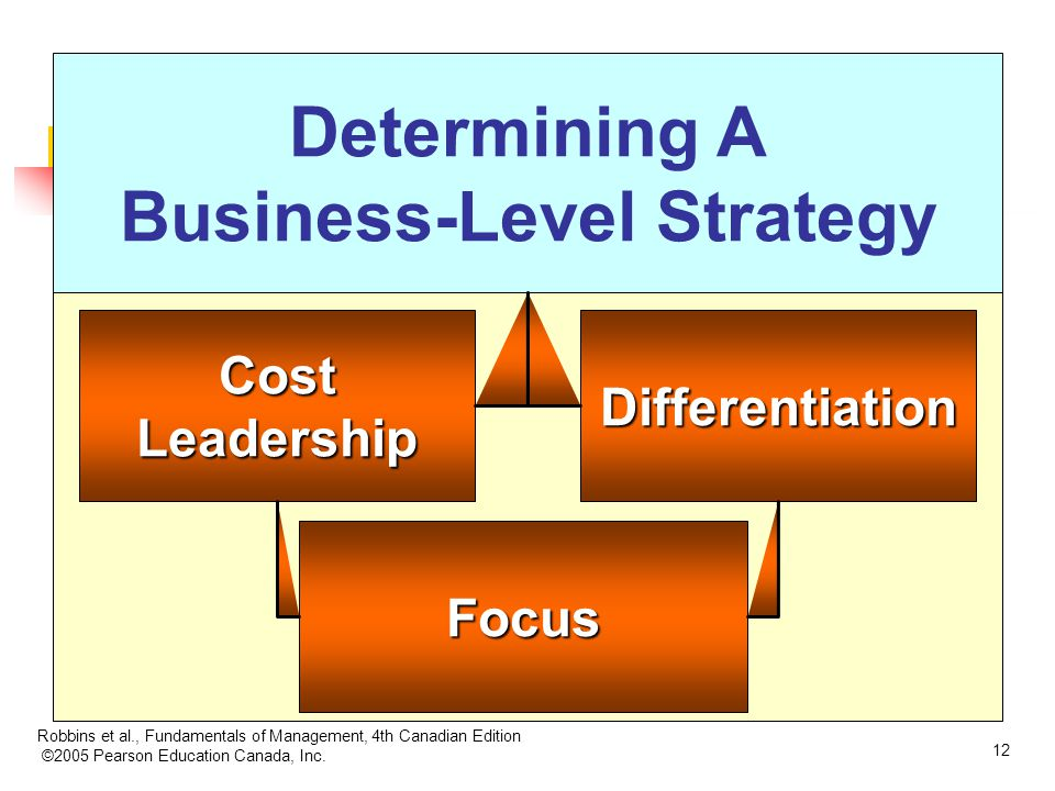 Robbins et al., Fundamentals of Management, 4th Canadian Edition ©2005 Pearson Education Canada, Inc. 12 Determining A Business-Level Strategy Differe