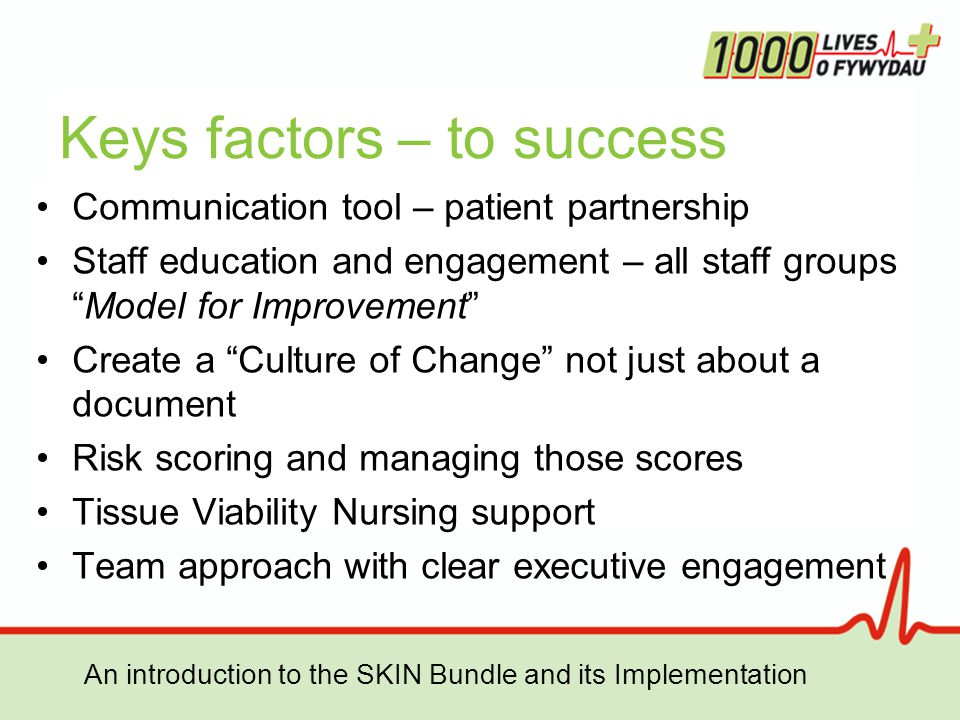 An introduction to the SKIN Bundle and its Implementation Keys factors – to success Communication tool – patient partnership Staff education and engagement – all staff groups Model for Improvement Create a Culture of Change not just about a document Risk scoring and managing those scores Tissue Viability Nursing support Team approach with clear executive engagement