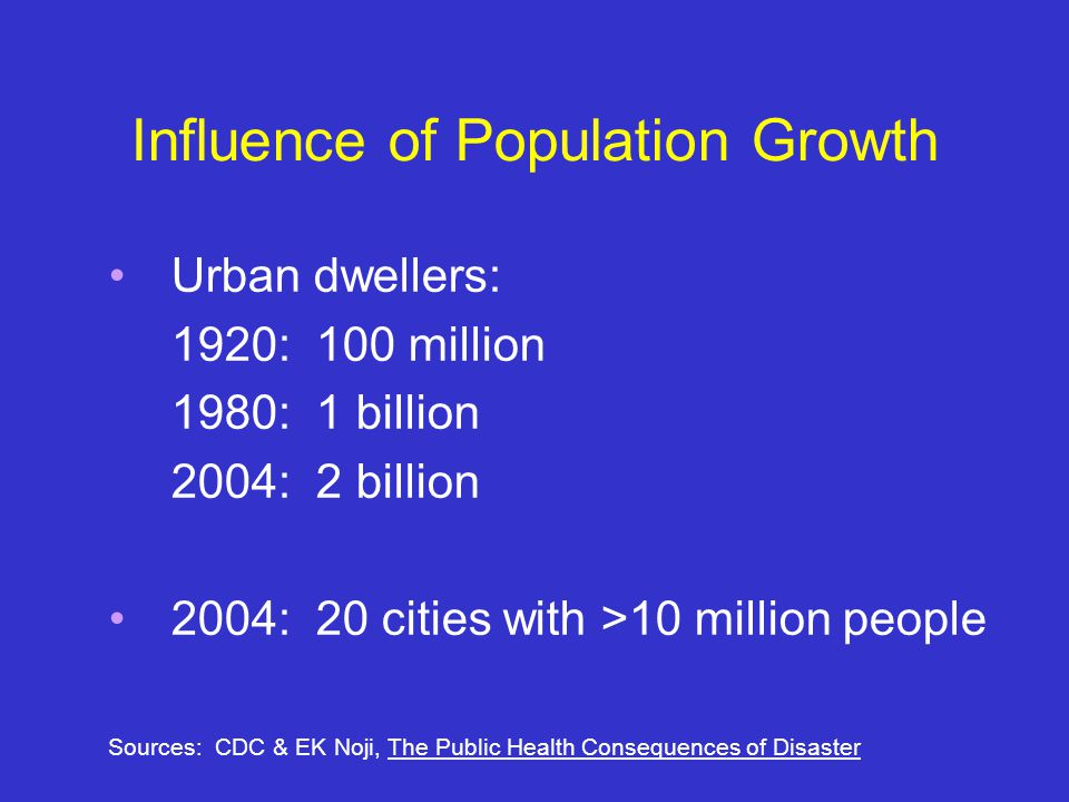 Influence of Population Growth Urban dwellers: 1920: 100 million 1980: 1 billion 2004: 2 billion 2004: 20 cities with >10 million people Sources: CDC & EK Noji, The Public Health Consequences of Disaster