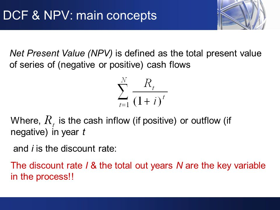 DCF & NPV: a graphic presentation There are plenty of commercial & in-house DCF & NPV software analysis tools