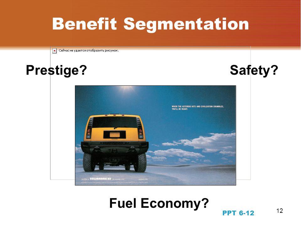 12 Benefit Segmentation Safety?Prestige? Fuel Economy? PPT 6-12