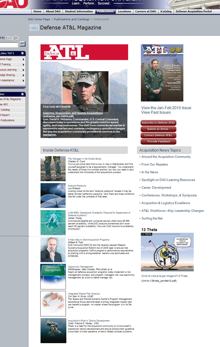 FEATURE INTERVIEW Adaptive, Responsive, and Speedy Acquisitions (petraeus_jan-feb10.pdf) Gen. David H. Petraeus, Commander, U.S. Central Command, disc