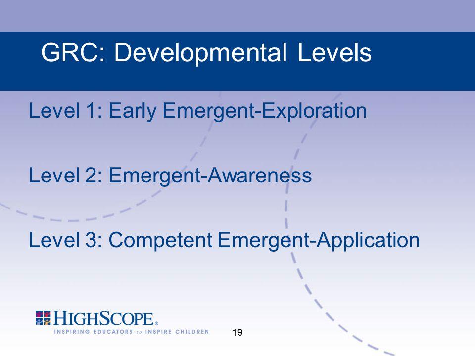 19 GRC: Developmental Levels Level 1: Early Emergent-Exploration Level 2: Emergent-Awareness Level 3: Competent Emergent-Application