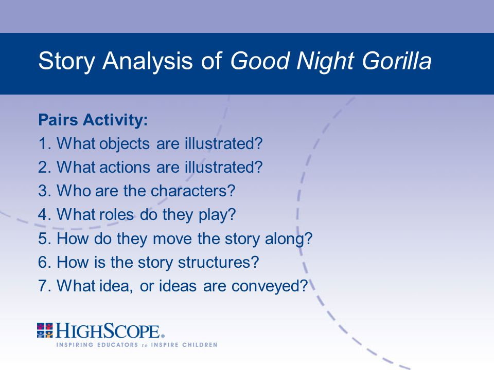Story Analysis of Good Night Gorilla Pairs Activity: 1.What objects are illustrated.