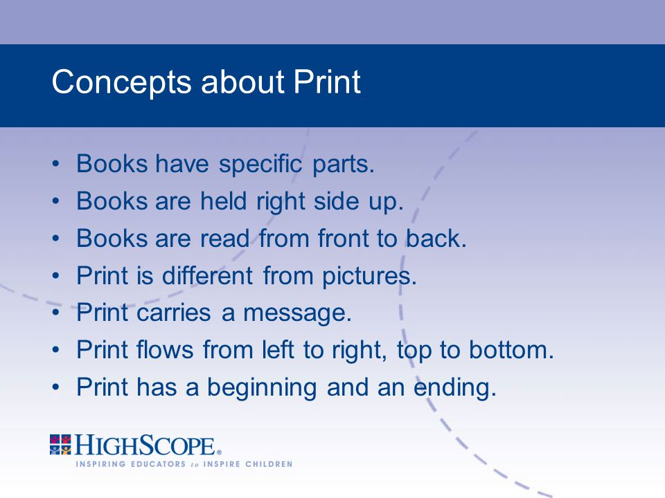 Concepts about Print Books have specific parts.Books are held right side up.
