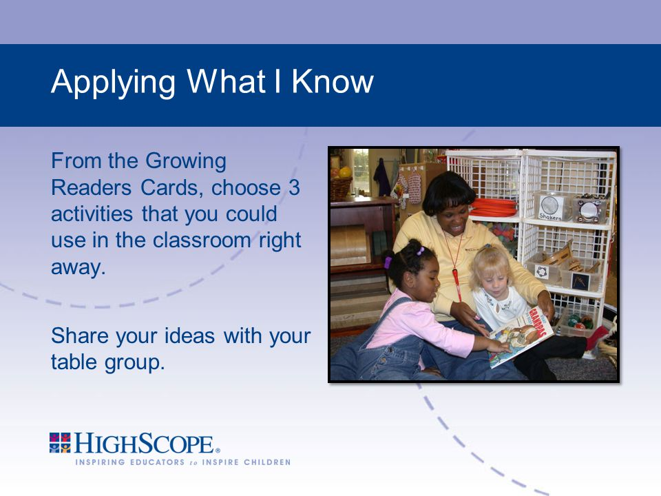 Applying What I Know From the Growing Readers Cards, choose 3 activities that you could use in the classroom right away.