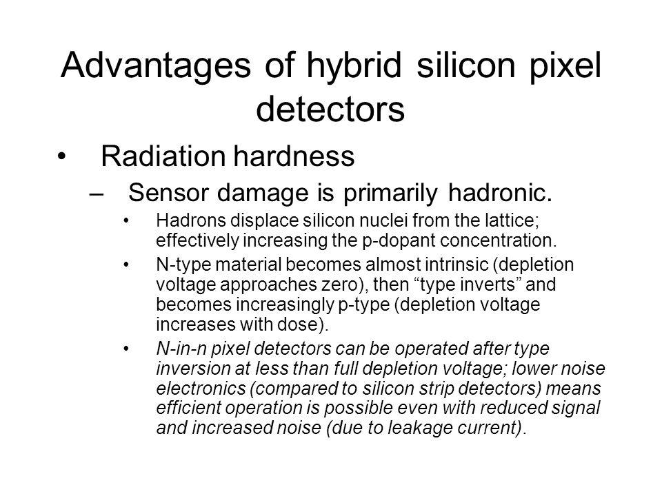 Advantages of hybrid silicon pixel detectors Radiation hardness –Sensor damage is primarily hadronic.