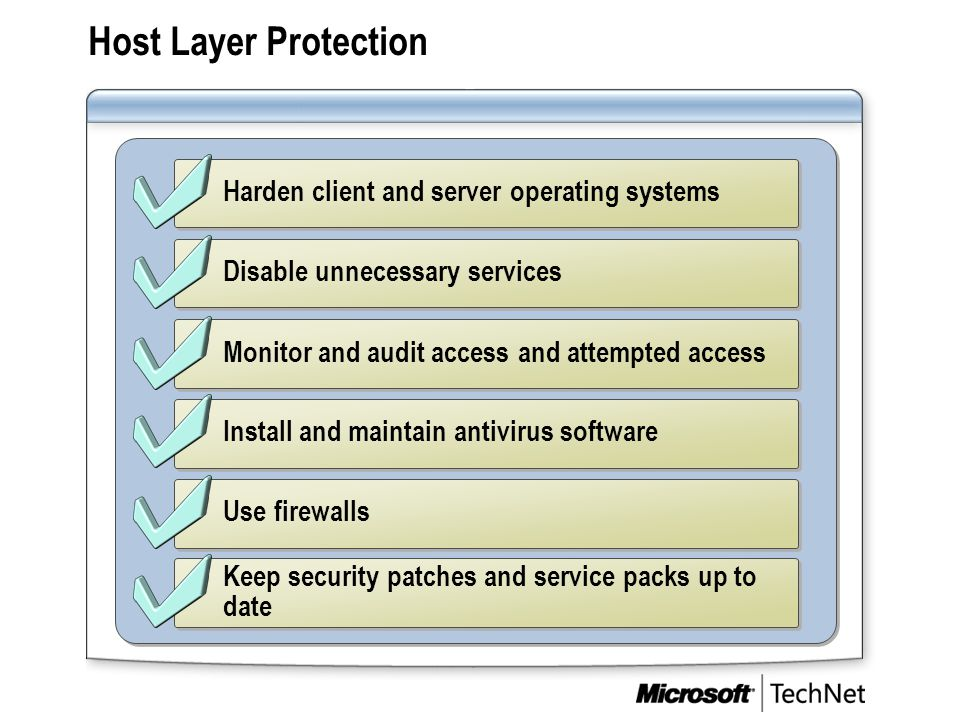 Host Layer Protection Harden client and server operating systems Disable unnecessary services Keep security patches and service packs up to date Monit