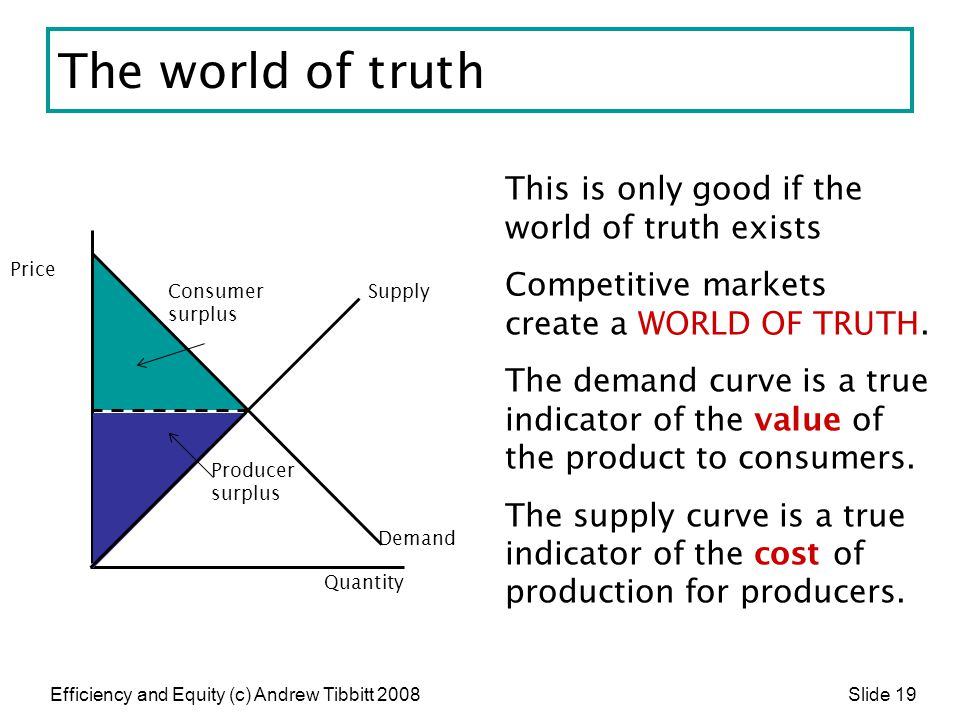 Efficiency and Equity (c) Andrew Tibbitt 2008 Slide 19 The world of truth This is only good if the world of truth exists Competitive markets create a