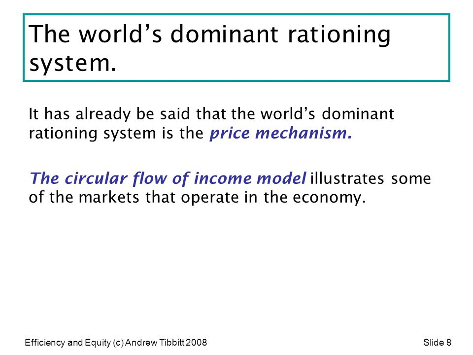 Efficiency and Equity (c) Andrew Tibbitt 2008 Slide 29 Ignoring externalities leads to inefficiency If market players do not take these negative externalities or social costs into account (do not include them in their demand and supply decisions) the market will not work efficiently.