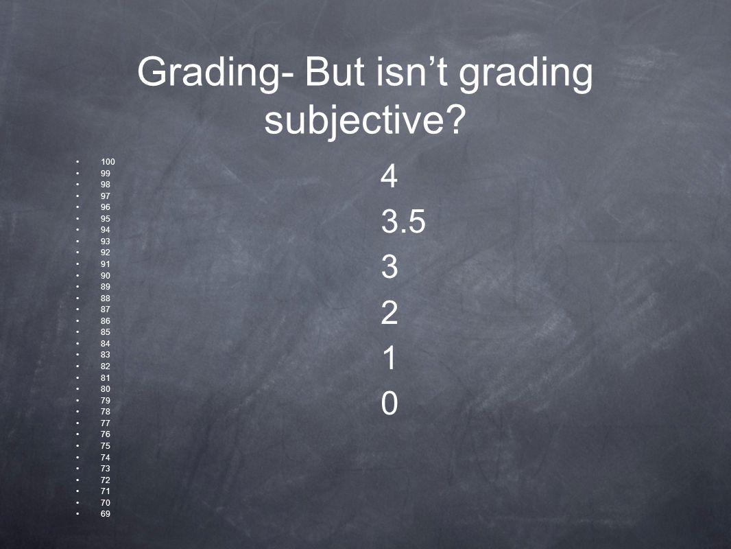 Grading- But isn't grading subjective.