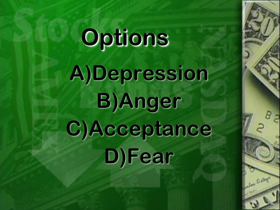 OptionsOptions A)Depression B)Anger C)Acceptance D)Fear A)Depression B)Anger C)Acceptance D)Fear