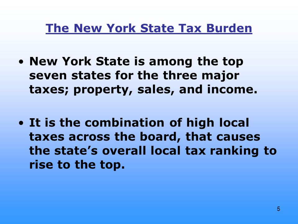5 The New York State Tax Burden New York State is among the top seven states for the three major taxes; property, sales, and income. It is the combina