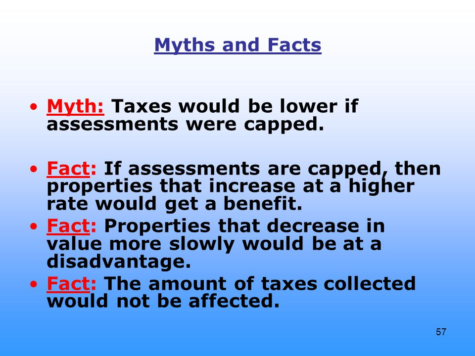 57 Myths and Facts Myth: Taxes would be lower if assessments were capped.