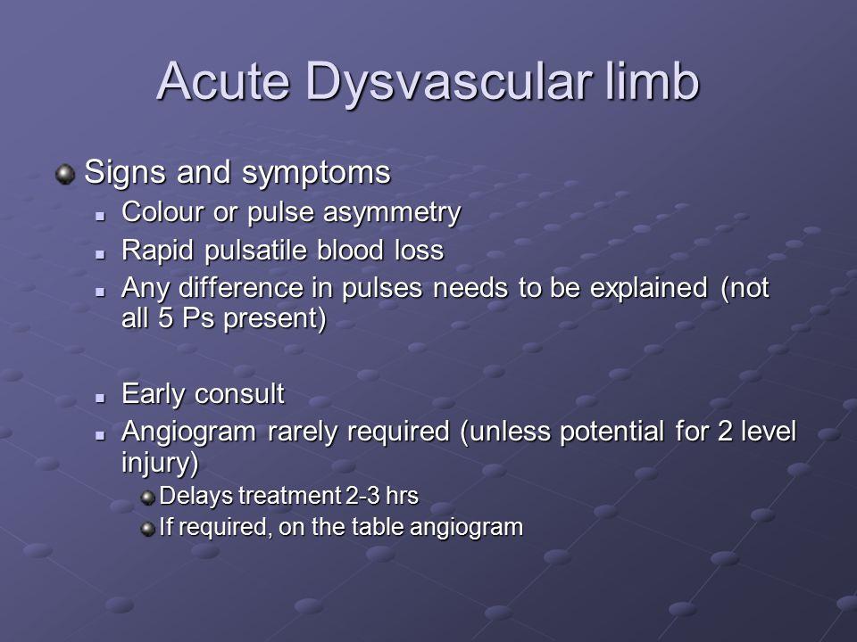 Acute Dysvascular limb Signs and symptoms Colour or pulse asymmetry Colour or pulse asymmetry Rapid pulsatile blood loss Rapid pulsatile blood loss An