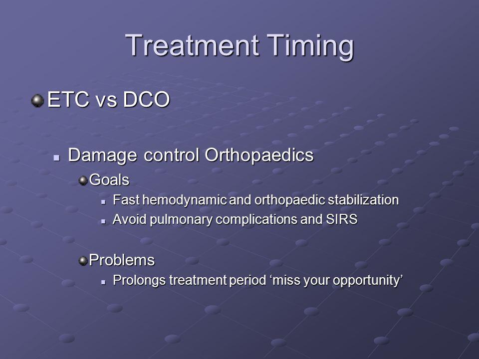 Treatment Timing ETC vs DCO Damage control Orthopaedics Damage control OrthopaedicsGoals Fast hemodynamic and orthopaedic stabilization Fast hemodynam