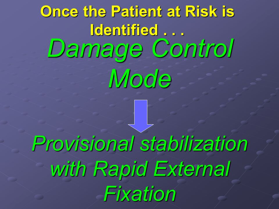 Damage Control Mode Provisional stabilization with Rapid External Fixation Once the Patient at Risk is Identified...