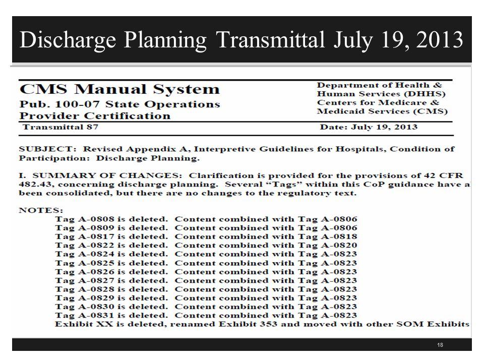 Discharge Planning Transmittal July 19, 2013 18